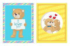 I Love You and Me Teddy Bears Vector. I love you and me teddy bears with heart sign vector illustration of stuffed toy animals, presents for Happy Valentines Day vector illustration