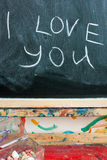 I love You message on blackboard Royalty Free Stock Image