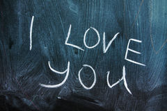 I love You message on blackboard Royalty Free Stock Photography