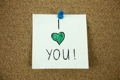 I love you message on cork board. I love you message pinned on cork board Businnes concept stock image