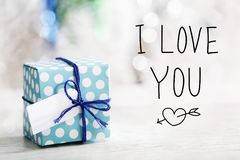 I Love You message with gift box Stock Images