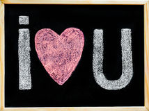 I love you message hand written with chalk on blackboard Stock Photos