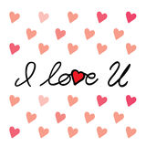 I love you message hand written vector graphic for valentines da Royalty Free Stock Image