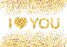 I love you message and heart golden glitter design Royalty Free Stock Images