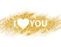 I love you message and heart golden glitter design Royalty Free Stock Image