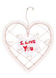 I love you message on a heart note board Royalty Free Stock Images