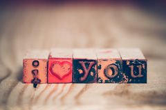I love you message with letter blocks Royalty Free Stock Photos