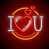 I love you message made of hearts. I love you message made of heart symbols. Neon sign. Icon of neon lamps with illumination. EPS10 vector illustration