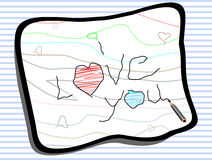 I love you message on note paper. Stock Photography