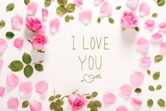 I Love You message with roses and leaves. Top view flat lay stock images