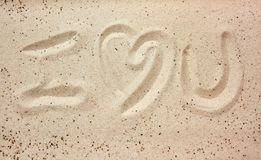 I love you message in the sand royalty free stock photography
