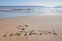 I Love You. Message in the sand beach coast shore of Kauai, Hawaii Royalty Free Stock Photo