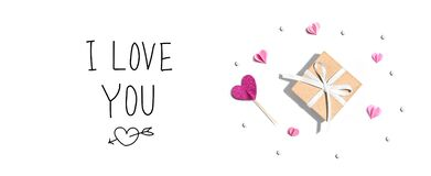 Free I Love You Message With A Small Gift Box And Hearts Stock Image - 209300931