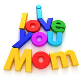 I Love you Mom. Written with colourful letter magnets on neutral background royalty free illustration