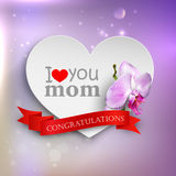 I love you mom. Abstract holiday background with hearts, orchid flower and ribbon. Mothers day concept Stock Photography