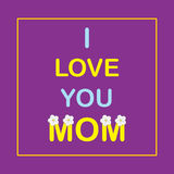 I love you Mom. Banner or poster for Mother's Day with flowers of apple. Stock Photos