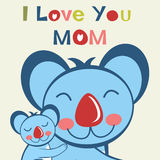 I love you mom. Card with happy Koala mom and her baby Stock Image