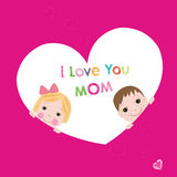 I love you mom with children mother's day greeting card Stock Image