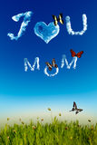 I love you Mom greeting card with cloud letters stock image