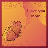 I love you mom. Greeting card for mother`s day. Orange postcard with butterfly. Stock Image