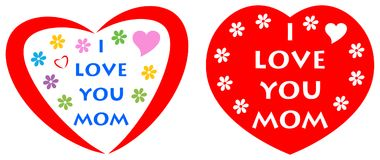I love you mom greeting card with red heart. Two design of i love you mom greeting card with red heart Stock Photography