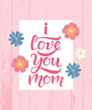 I love you mom greeting card wooden texture royalty free illustration