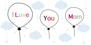 I love you mom on Mother's Day greeting card printed balloons vector background Stock Photos