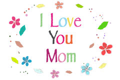 I love you mom on Mother's Day greeting card printed balloons vector Stock Photography