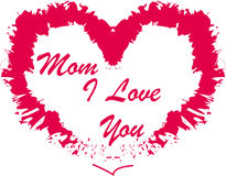 I love you mom. Mothers day type with a red heart Stock Photos