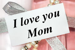 I love you Mom. Mothers Day gift with I love you Mom card Stock Images