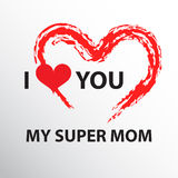 I love you mom. I love you my super mom. I love you mom. Abstract holiday background with paper hearts. Mothers day concept Stock Photo
