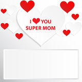 I love you mom. I love you my super mom. I love you mom. Abstract holiday background with paper hearts. Mothers day concept Stock Photography