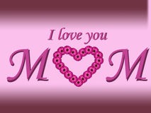 I love you mom text mother's day card with daisy heart and gradient background Royalty Free Stock Photography