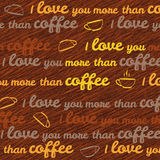 'I love you more than coffee' typography. Funny Valentine's Day Card. Stock Photo