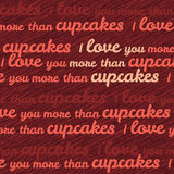 'I love you more than cupcakes' typography. Funny Valentine's Day Love Card. Royalty Free Stock Photography