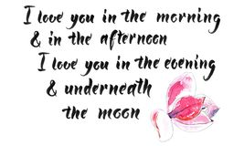 I love you in the morning & in the afternoon royalty free illustration