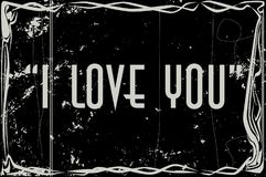 I Love You Movie Frame. Heavy grunge silent movie frame with text I love You Royalty Free Stock Photography