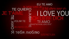 I love you multilingual tag word cloud - red background. Loop able stock video