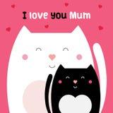 I love you mum. Vector illustration. I love you mum. Vector illustration of cats Royalty Free Stock Image