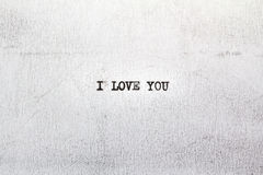 I LOVE YOU. My first love letter. I LOVE YOU on old paper written on an old typewriter Stock Image