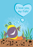 I love you, my fish. Fish lying on the bottom of the sea and speaks about love Royalty Free Stock Photography