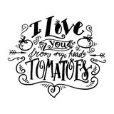 I Love you from my head tomatoes. Vintage label Royalty Free Stock Images
