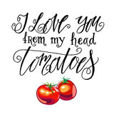 I Love you from my head tomatoes. Vintage label Royalty Free Stock Image