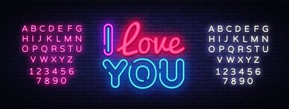 I Love You neon sign vector. Love Design template neon sign, light banner, neon signboard, nightly bright advertising stock images