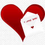 I love you note background , card. A vector illustration of I love you note card with envelope on a dotted background with heart Stock Image