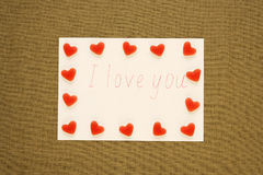 I love you note with fruit candies Royalty Free Stock Photo