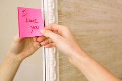 I love you note on the mirror Stock Image