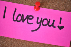 I Love You Note on Pinboard stock photos