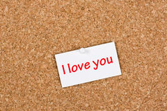 I Love You Note on Pinboard Royalty Free Stock Photos