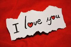 `I love you` note Royalty Free Stock Images